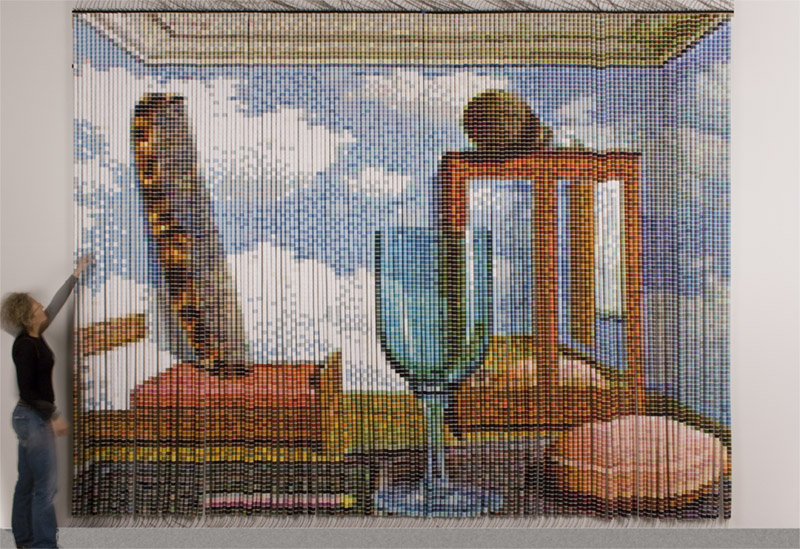 """After Magritte"" by Devorah Sperber, constructed from 17,760 spools of thread, commissioned by Royal Carribean Cruise Lines, Ship: The Independence, 2007"